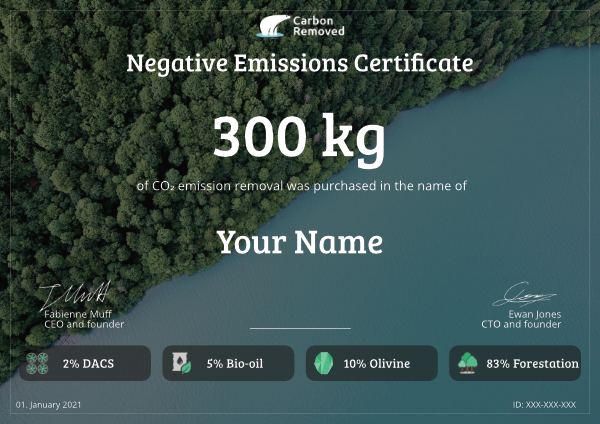 An example CO₂ removal certificate of the nature plan issued by Carbon Removed